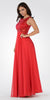 Lace Bodice Sleeveless A-Line Formal Dress Red Long Mesh Side Cut Outs