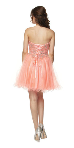 Juliet 787 Coral Strapless Applique Jeweled Bodice Short Prom Dress