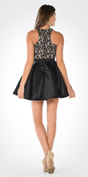 Halter Embellished Top Pleated Satin Skirt Homecoming