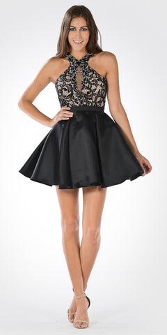 Halter Embellished Top Pleated Satin Skirt Homecoming Dress Short Black