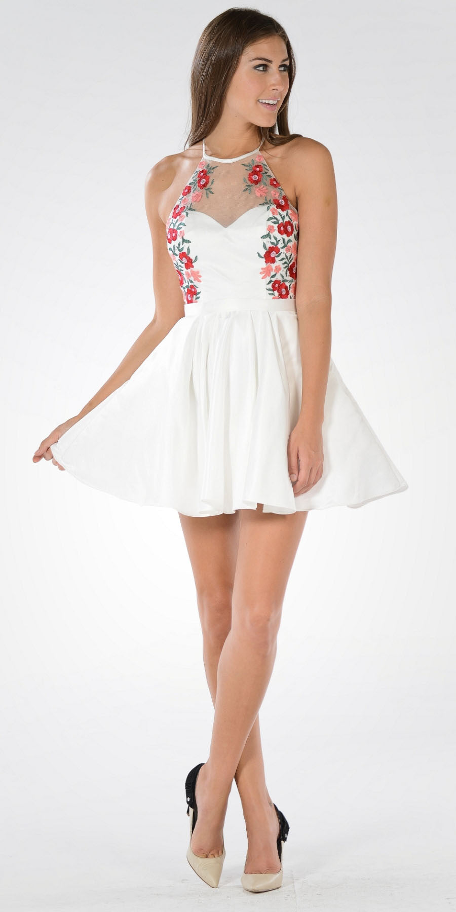 Off White High Neck Embroidered Bodice Satin Homecoming Dress