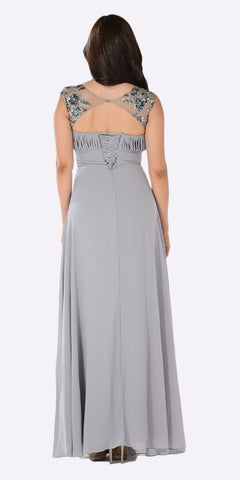Poly USA 7874 - V-Neck Embellished Pleated Bodice Empire Waist Formal Dress Long Gray Back View