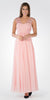 V-Neck Embellished Pleated Bodice Empire Waist Formal Dress Long Blush