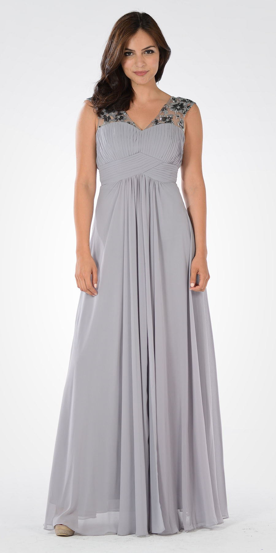 V-Neck Embellished Pleated Bodice Empire Waist Formal Dress Long Gray