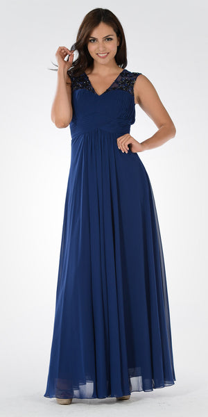V-Neck Embellished Pleated Bodice Empire Waist Formal Dress Long Navy Blue