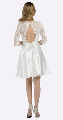 Poly USA 7876 Mid Sleeves Lace Top Cut Out Back Homecoming Dress Off White Short Back View