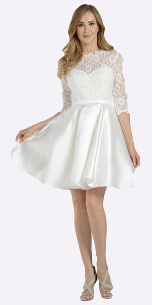 Poly USA 7876 Mid Sleeves Lace Top Cut Out Back Homecoming Dress Off White Short