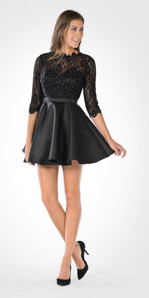 Mid Sleeves Lace Top Cut Out Back Homecoming Dress Black Short