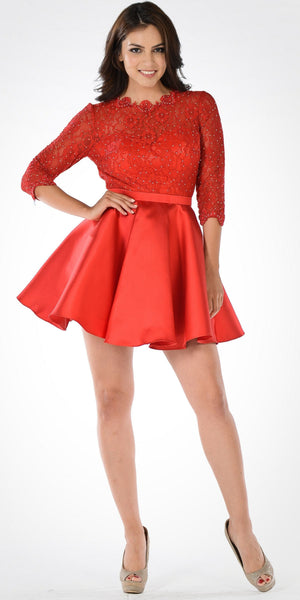 Mid Sleeves Lace Top Cut Out Back Homecoming Dress Red Short
