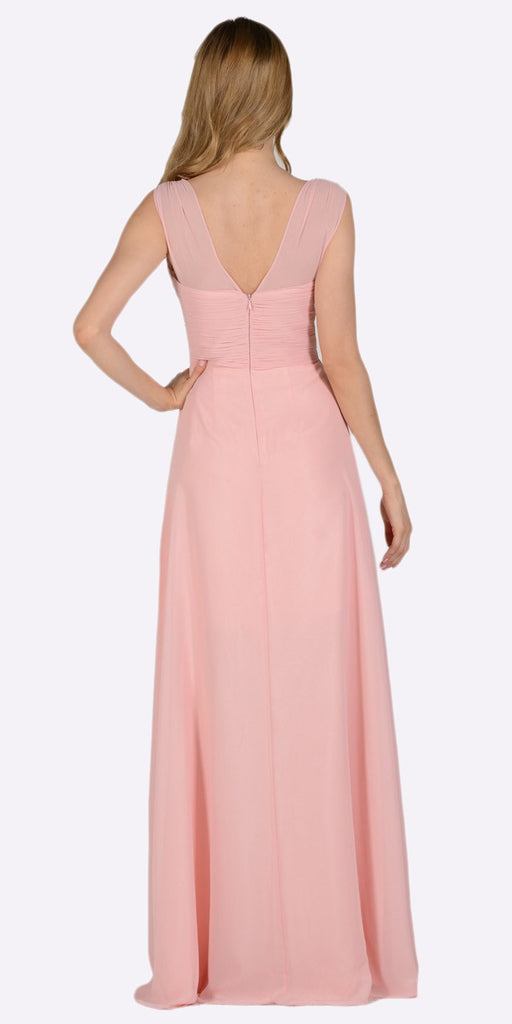 Poly USA 7878 Blush V-Neck Ruched Bodice Empire Waist Chiffon Long Bridesmaids Dress Back View