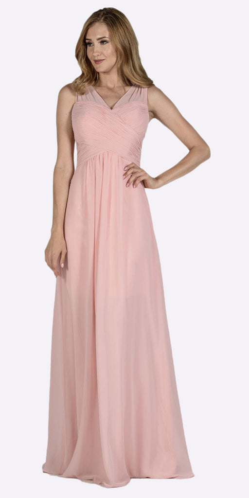 Poly USA 7878 Blush V-Neck Ruched Bodice Empire Waist Chiffon Long Bridesmaids Dress