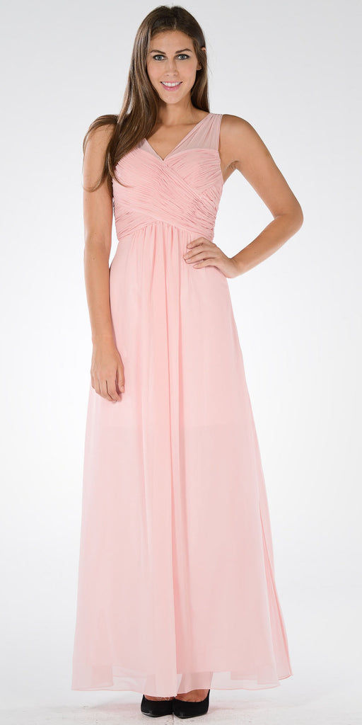 Blush V-Neck Ruched Bodice Empire Waist Chiffon Long Bridesmaids Dress