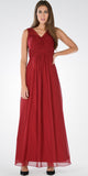 Burgundy V-Neck Ruched Bodice Empire Waist Chiffon Long Bridesmaids Dress - DiscountDressShop