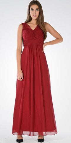 Burgundy V-Neck Ruched Bodice Empire Waist Chiffon Long Bridesmaids Dress