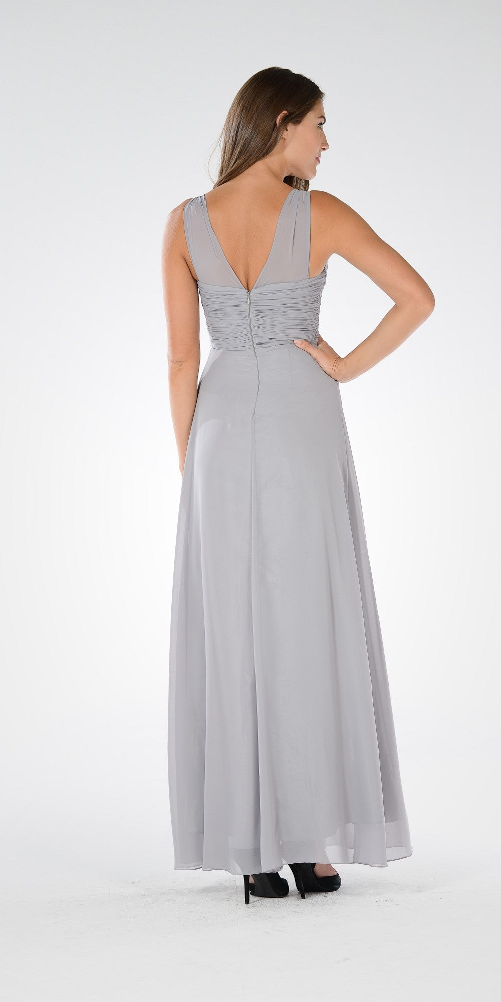 Gray V-Neck Ruched Bodice Empire Waist Chiffon Long Bridesmaids Dress