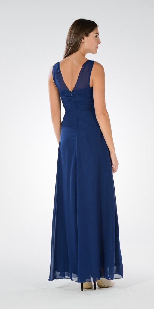Navy Blue V-Neck Ruched Bodice Empire Waist Chiffon Long Bridesmaids Dress