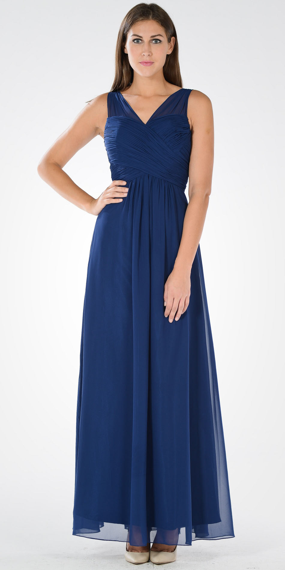 769284a6b63f Navy Blue V-Neck Ruched Bodice Empire Waist Chiffon Long Bridesmaids Dress.  Tap to expand