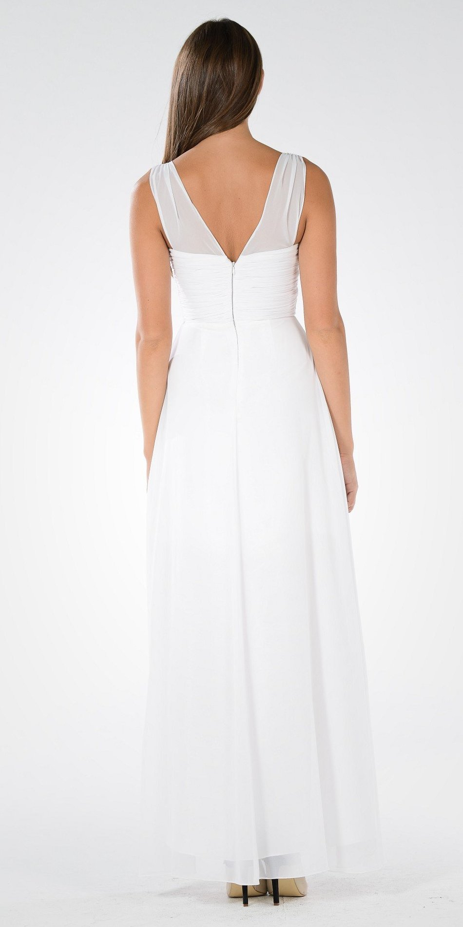 Off White V-Neck Ruched Bodice Empire Waist Chiffon Long Bridesmaids Dress