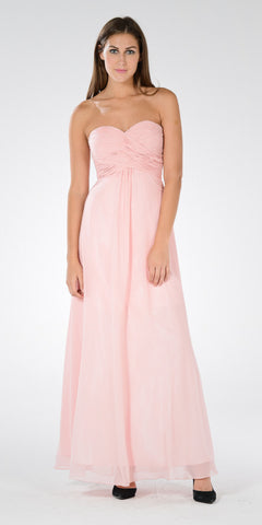 Sweetheart Strapless Ruched Bodice Lace Up Back Long Bridesmaids Dress Blush