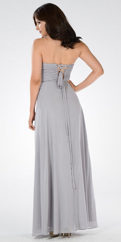 Sweetheart Strapless Ruched Bodice Lace Up Back Long Bridesmaids Dress Gray