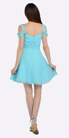 Poly USA 7882 Strappy Shoulder Empire Waist Short Cocktail Dress Aqua Back View