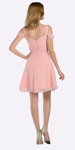 Poly USA 7882 Strappy Shoulder Empire Waist Short Cocktail Dress Blush Back View