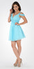Strappy Shoulder Empire Waist Short Cocktail Dress Aqua