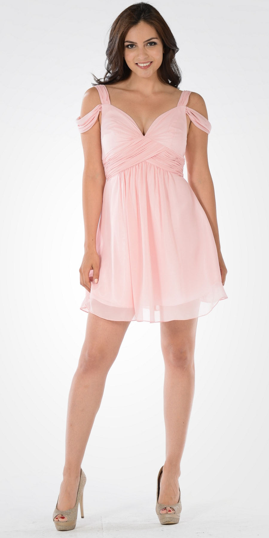 Strappy Shoulder Empire Waist Short Cocktail Dress Blush