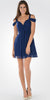 Strappy Shoulder Empire Waist Short Cocktail Dress Navy Blue