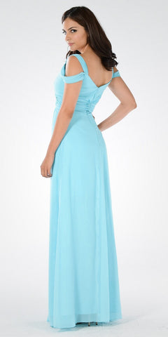 Plunging Neck Strappy Shoulder Empire Waist Long Formal Dress Aqua
