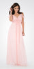 Plunging Neck Strappy Shoulder Empire Waist Long Formal Dress Blush