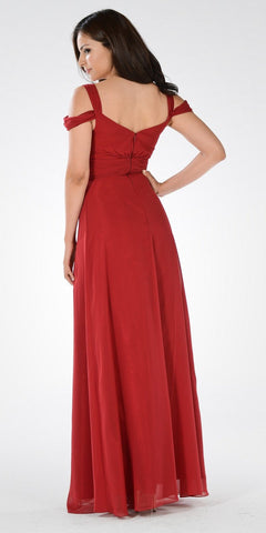 Plunging Neck Strappy Shoulder Empire Waist Long Formal Dress Burgundy