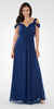 Plunging Neck Strappy Shoulder Empire Waist Long Formal Dress Navy Blue