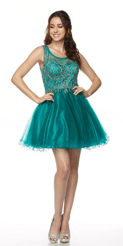Juliet 789 Scoop Neck Appliqued Bodice Short Prom Dress Green - DiscountDressShop