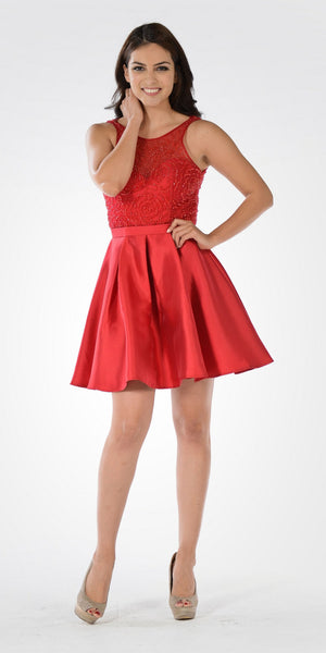 Pleated Skirt Halter Beaded Illusion Top Short Homecoming Dress Red