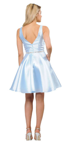 Poly USA 7894 Light Blue Satin V-Neck Embellished Waist A-Line Homecoming Dress Short Back View