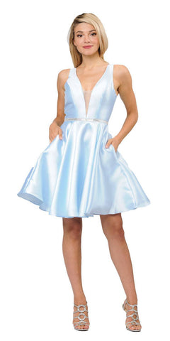 Poly USA 7894 Light Blue Satin V-Neck Embellished Waist A-Line Homecoming Dress Short