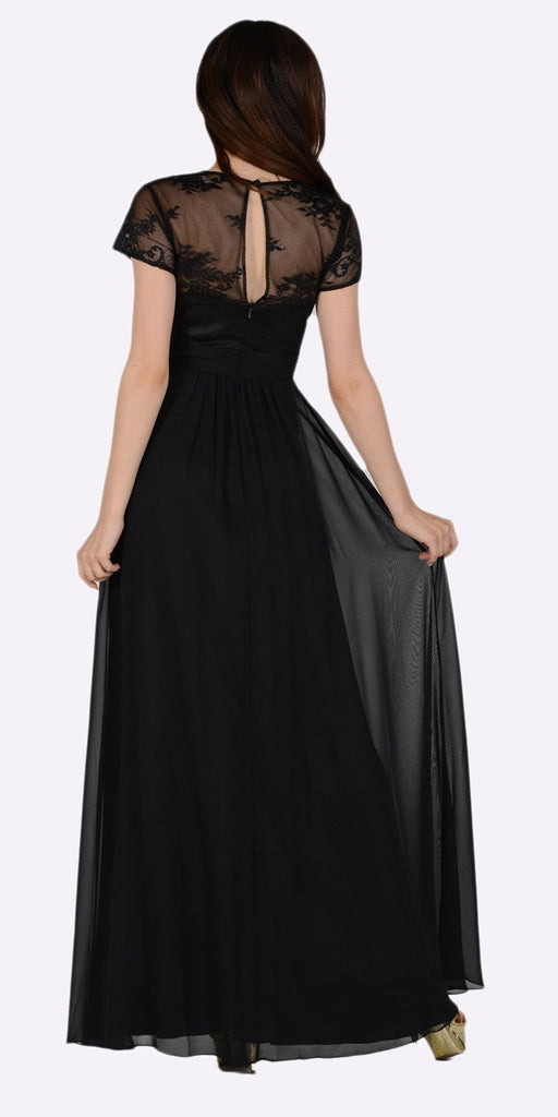 Poly USA 7898 Sweetheart Neck Pleated Lace Bodice Short Sleeves Empire Waist Formal Dress Black Back View