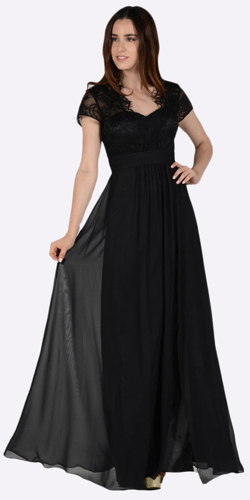 Poly USA 7898 Sweetheart Neck Pleated Lace Bodice Short Sleeves Empire Waist Formal Dress Black