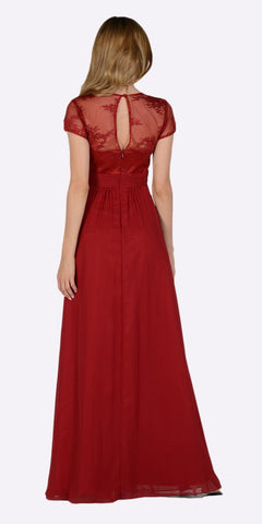 Poly USA 7898 Sweetheart Neck Pleated Lace Bodice Short Sleeves Empire Waist Formal Dress Burgundy Back View