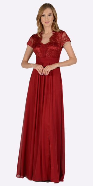 Poly USA 7898 Sweetheart Neck Pleated Lace Bodice Short Sleeves Empire Waist Formal Dress Burgundy