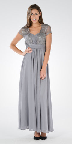 Sweetheart Neck Pleated Lace Bodice Short Sleeves Empire Waist Formal Dress Gray