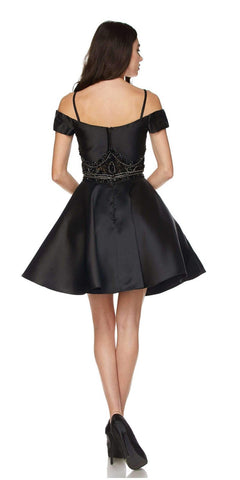 Black Cold Shoulder Two-Piece Embellished Homecoming Short Dress