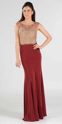 Burgundy Cap Sleeves Sheer Embellished Bodice Long Formal Dress
