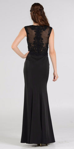 Scoop Neck Appliqued Bodice Fit and Flare Prom Gown Black Cap Sleeves