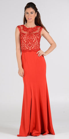 Scoop Neck Appliqued Bodice Fit and Flare Prom Gown Red Cap Sleeves