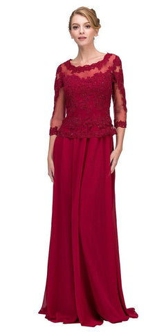 Burgundy Appliqued Long Formal Dress Mid-Length Sleeves