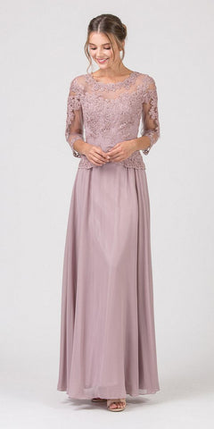 Mocha Appliqued Long Formal Dress Mid-Length Sleeves