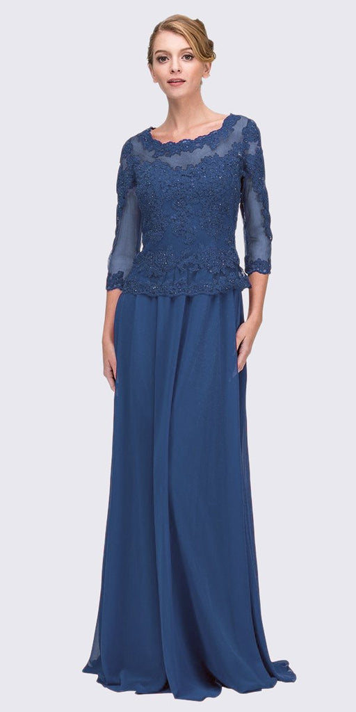 Navy Blue Appliqued Long Formal Dress Mid-Length Sleeves
