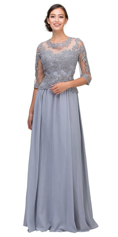 Silver Appliqued Long Formal Dress Mid-Length Sleeves